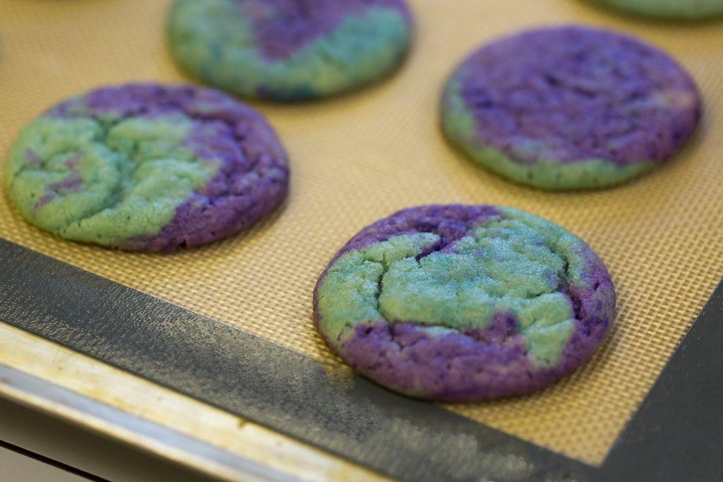 Purple and Teal Cookies