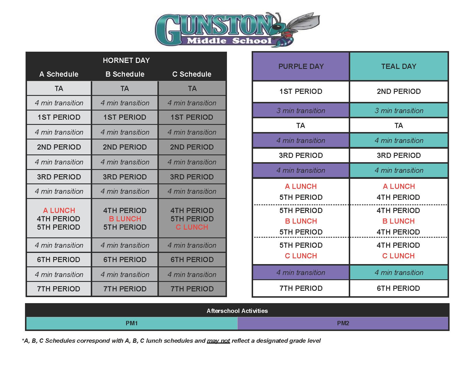 bell schedule 1